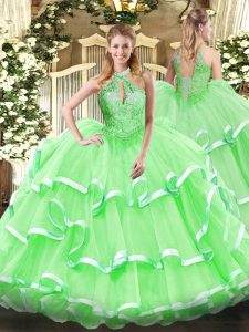 Simple Sleeveless Floor Length Beading and Ruffles Lace Up Quinceanera Dresses