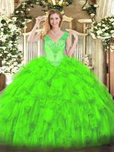 Floor Length Ball Gowns Sleeveless Quinceanera Gowns Lace Up