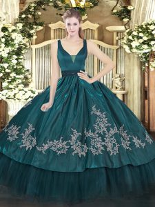 Teal Organza and Taffeta Zipper Vestidos de Quinceanera Sleeveless Floor Length Beading and Embroidery