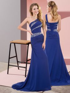 Fashion Floor Length Lace Up Prom Gown Blue for Prom and Party with Beading Sweep Train