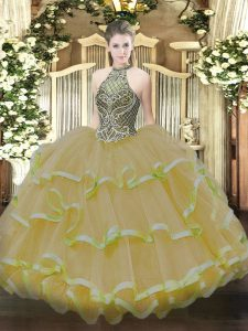 Fancy Sleeveless Lace Up Floor Length Beading and Ruffles Quinceanera Gowns