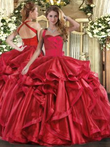 Sumptuous Wine Red Lace Up 15 Quinceanera Dress Ruffles Sleeveless Floor Length