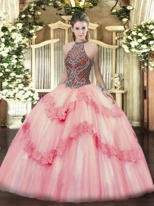 Excellent Pink Lace Up Halter Top Beading and Appliques Vestidos de Quinceanera Tulle Sleeveless