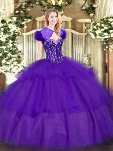 Designer Purple Ball Gowns Sweetheart Sleeveless Tulle Floor Length Lace Up Ruffled Layers Sweet 16 Dress