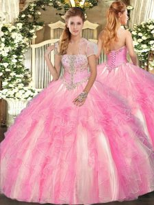 Floor Length Rose Pink Quinceanera Dresses Tulle Sleeveless Appliques and Ruffles