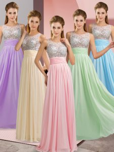 Floor Length Baby Pink Homecoming Dress Chiffon Sleeveless Beading