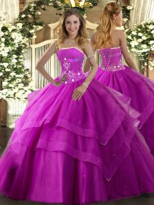 Decent Strapless Sleeveless Ball Gown Prom Dress Floor Length Beading and Ruffled Layers Fuchsia Tulle