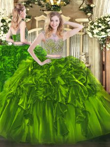 Extravagant Olive Green Two Pieces Beading and Ruffles Quinceanera Dress Lace Up Organza Sleeveless Floor Length
