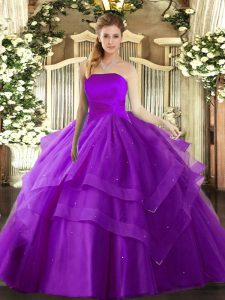 Pretty Floor Length Ball Gowns Sleeveless Eggplant Purple Ball Gown Prom Dress Lace Up