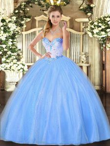 Graceful Baby Blue Ball Gowns Sweetheart Sleeveless Tulle Floor Length Lace Up Beading Vestidos de Quinceanera