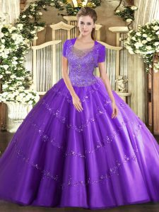 Traditional Scoop Sleeveless Sweet 16 Dress Floor Length Beading and Appliques Lavender Tulle