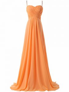 Best Selling Sleeveless Sweep Train Criss Cross Ruching Prom Party Dress