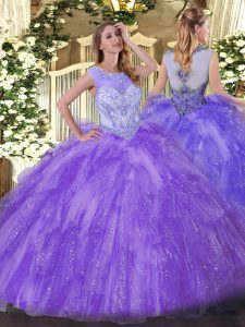 Noble Floor Length Lavender Quince Ball Gowns Scoop Sleeveless Zipper