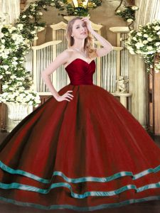 Wine Red Sleeveless Tulle Zipper Quince Ball Gowns for Military Ball and Sweet 16 and Quinceanera