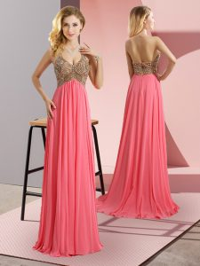 Sleeveless Floor Length Beading Zipper Dress for Prom with Watermelon Red Sweep Train