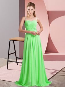 Empire Beading Prom Dresses Criss Cross Chiffon Sleeveless