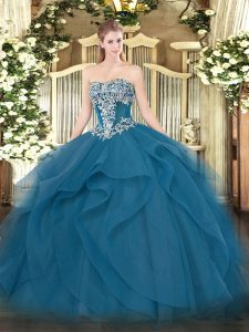 Sweet Sleeveless Tulle Floor Length Lace Up 15th Birthday Dress in Teal with Beading and Ruffles