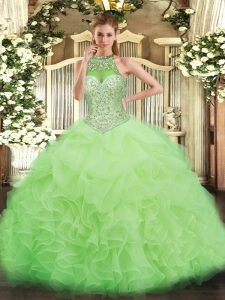 Yellow Green Lace Up Ball Gown Prom Dress Beading and Ruffles and Pick Ups Sleeveless Floor Length