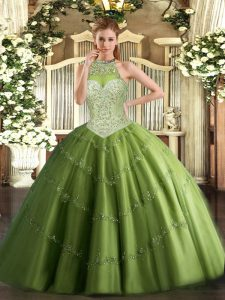 Olive Green Tulle Lace Up Quinceanera Dresses Sleeveless Floor Length Beading and Appliques