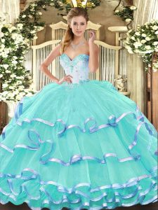 Turquoise Organza Lace Up Quince Ball Gowns Sleeveless Floor Length Beading and Ruffled Layers