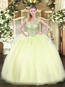 New Arrival Light Yellow Scoop Neckline Beading Vestidos de Quinceanera Sleeveless Lace Up
