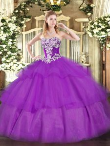 Custom Design Purple Sweet 16 Dress Military Ball and Sweet 16 and Quinceanera with Beading and Ruffled Layers Strapless Sleeveless Lace Up