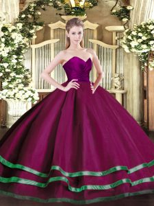 Sexy Floor Length Zipper Sweet 16 Dress Fuchsia for Military Ball and Sweet 16 and Quinceanera with Ruffled Layers