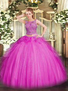 Latest Fuchsia Lace Up Scoop Beading and Ruffles Sweet 16 Quinceanera Dress Tulle Sleeveless