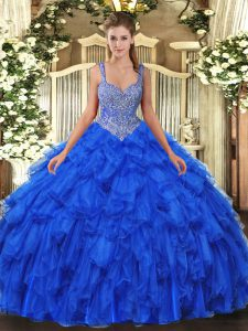 Cute Sleeveless Beading and Ruffles Lace Up Quince Ball Gowns