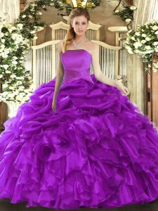Extravagant Floor Length Ball Gowns Sleeveless Purple Sweet 16 Quinceanera Dress Lace Up