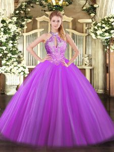 Custom Made Sleeveless Tulle Floor Length Lace Up Sweet 16 Dress in Purple with Sequins