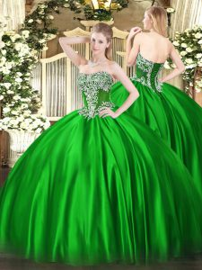 Charming Green Satin Lace Up Quinceanera Dress Sleeveless Floor Length Beading