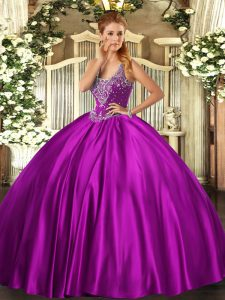 Dramatic Satin Sleeveless Floor Length Quinceanera Gown and Beading