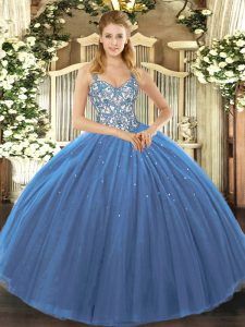 Sleeveless Lace Up Floor Length Appliques Quinceanera Dress
