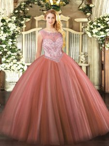Modern Red Zipper Scoop Beading Quinceanera Gown Tulle Sleeveless