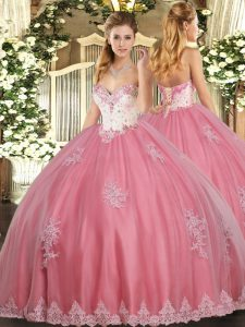 Tulle Sleeveless Floor Length Sweet 16 Quinceanera Dress and Beading and Appliques