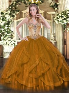 Graceful Sweetheart Sleeveless Tulle Sweet 16 Quinceanera Dress Beading and Ruffles Lace Up