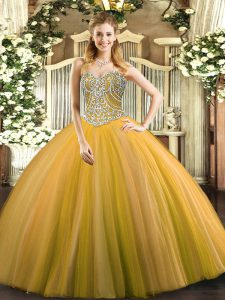 Glorious Floor Length Lace Up Quinceanera Gown Gold for Military Ball and Sweet 16 and Quinceanera with Beading