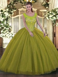 Olive Green Tulle Backless Quince Ball Gowns Sleeveless Floor Length Beading