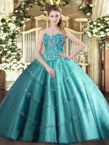 Great Floor Length Ball Gowns Sleeveless Teal Ball Gown Prom Dress Lace Up