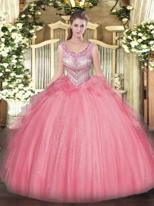 Super Sleeveless Tulle Floor Length Lace Up Sweet 16 Quinceanera Dress in Watermelon Red with Beading and Ruffles