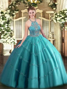 Excellent Teal Ball Gowns Tulle Halter Top Sleeveless Beading and Appliques Floor Length Lace Up Quince Ball Gowns