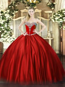 Sweetheart Sleeveless Sweet 16 Dress Floor Length Beading Wine Red Satin