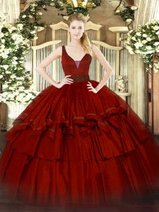 Wine Red Ball Gowns Straps Sleeveless Organza Floor Length Zipper Beading and Ruffled Layers Sweet 16 Quinceanera Dress