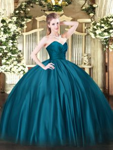 Ball Gowns Ball Gown Prom Dress Teal Sweetheart Organza Sleeveless Floor Length Zipper