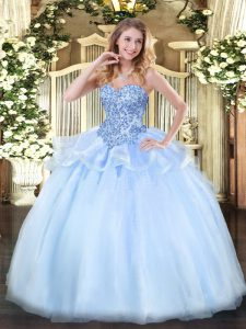 Floor Length Lace Up Vestidos de Quinceanera Light Blue for Sweet 16 and Quinceanera with Appliques