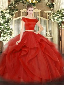 Fantastic Floor Length Two Pieces Short Sleeves Red Sweet 16 Dress Zipper