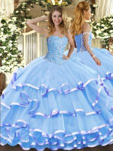 Aqua Blue Sleeveless Organza Lace Up Sweet 16 Quinceanera Dress for Military Ball and Sweet 16 and Quinceanera