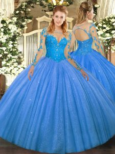 Glittering Baby Blue Ball Gowns Scoop Long Sleeves Tulle Floor Length Lace Up Lace Quinceanera Gowns