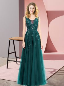 Low Price Turquoise Backless Square Beading and Appliques Prom Gown Tulle Sleeveless